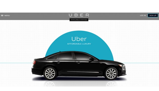 Luxury taxi service offered by Uber.com in Jakarta. Uber.com