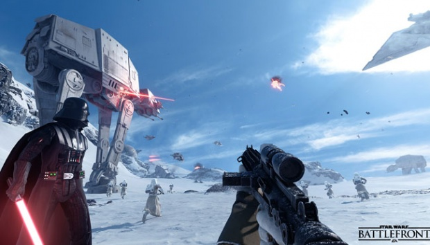Darth Vader memimpin pasukan Galactic Empire di Star Wars Battlefront. Starwars.ea.com
