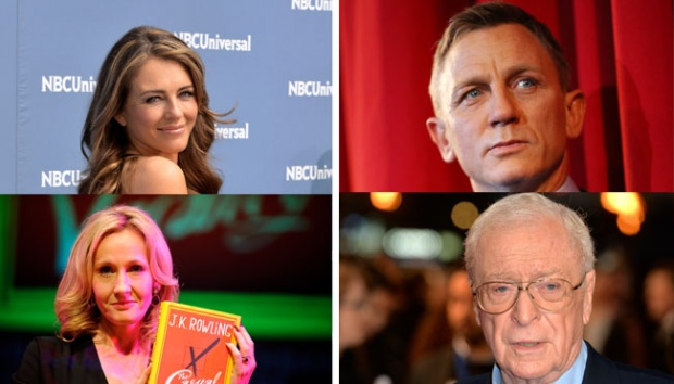 Searah jarum jam: Liz Hurley, Daniel Craig, J.K. Rowling dn Michael Caine. Getty Images