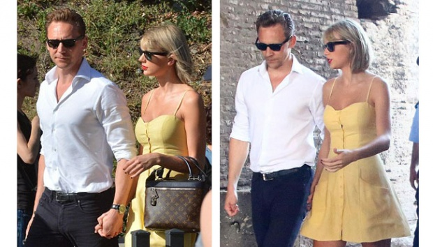 Taylor Swift dan Tom Hiddleston terlihat bergandengan tangan saat berjalan-jalan di Roma, Italia. Dailymail.co.uk/Theimagedirect.com