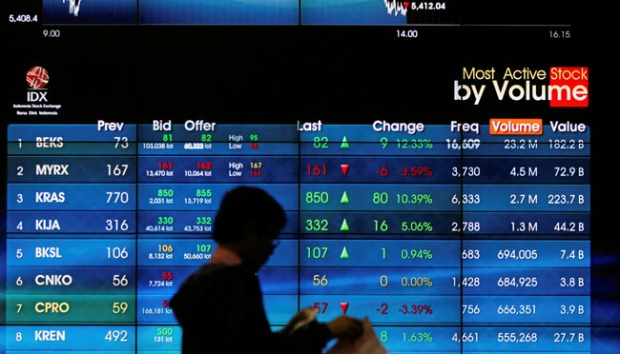 An Employee Walks In Front Of Electronic Board At The Indonesia Stock Exchange Idx