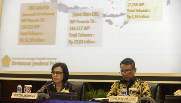Indonesian Finance Minister Sri Mulyani (Left) and the Director General of Tax (Tax DG), Ken Dwijugiasteadi. Image: TEMPO/Tony Hartawan