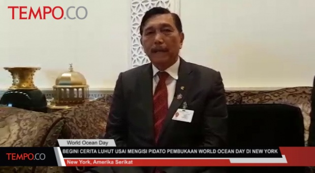 Menko Kemaritiman Luhut Binsar Panjaitan usai mengisi pidato pembukaan World Ocean day di General Assembly Hall, PBB, New York. TEMPO/Wahyu Muryadi