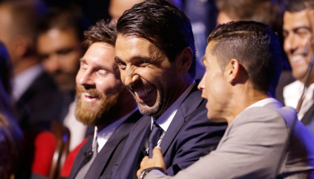 Madrid's forward Cristiano Ronaldo of Portugal, right, Gianluigi Buffon, center, and Lionel Messi attend the UEFA Champions League draw at the Grimaldi Forum, in Monaco, Thursday, Aug. 24, 2017. Ronaldo was named UEFA's Player of the Year, beating Lionel Messi and Gianluigi Buffon to the prize, European soccer's governing body announced during the Champions League group stage draw in Monaco on Thursday. AP/Claude Paris