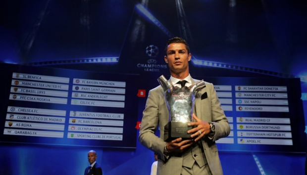 Madrid's forward Cristiano Ronaldo of Portugal, holds his