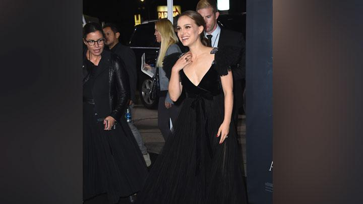 Ekspresi Natalie Portman setibanya dalam premier film Annihilation di Los Angeles, California, AS, 13 Februari 2018. AP Photo