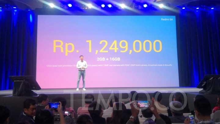 Head of Xiaomi South Pacific Region dan Country Manager Indonesia, Steven Shi, merilis smartphone Xiaomi Redmi 6A di Indonesia, Selasa, 4 September 2018. TEMPO/Amri Mahbub