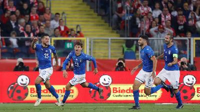 Kalahkan Polandia, Italia Aman dari Degradasi UEFA Nations League