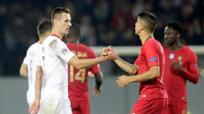 Hasil UEFA Nations League: Portugal Ditahan Imbang Polandia 1-1