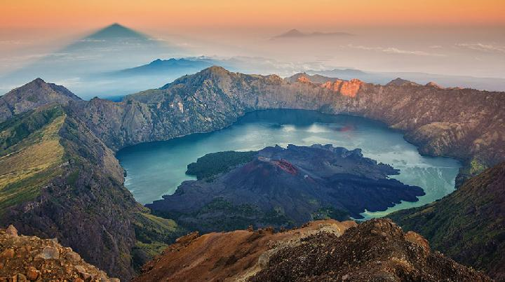 Sunrise view from Mount Rinjani, Lombok, West Nusa Tenggara (NTB)