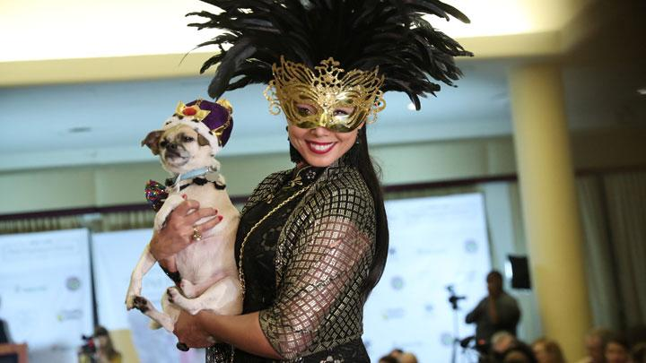 A woman holds a dog on the runway at the 16th annual New York Pet fashion show in New York, U.S., February 7, 2019. REUTERS/Shannon Stapleton