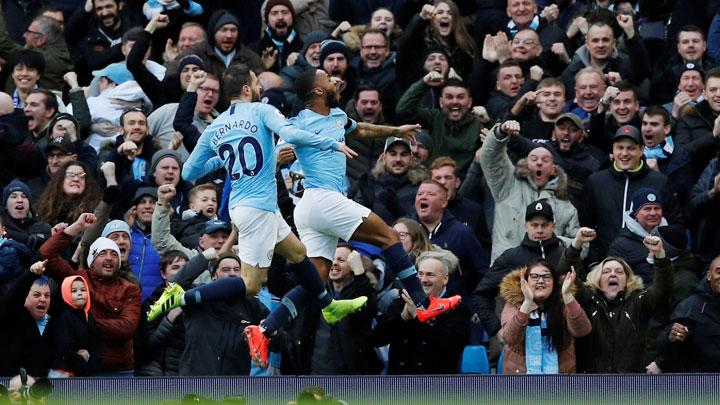 Manchester City's Raheem Sterling celebrates scoring their first goal during the Premier League match between Manchester City v Chelsea at Etihad Stadium, Manchester, February 10, 2019. REUTERS/Phil Noble