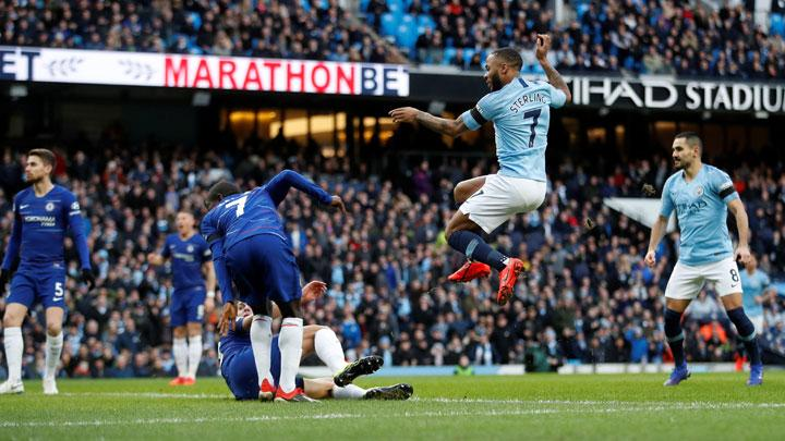Manchester City's Raheem Sterling scores their first goal during the Premier League match between Manchester City v Chelsea at Etihad Stadium, Manchester, February 10, 2019. Action Images via Reuters/Carl Recine