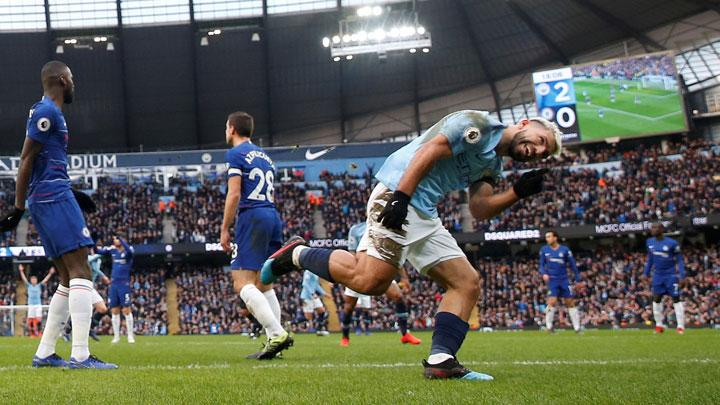 Manchester City's Sergio Aguero celebrates scoring their third goal during the Premier League match between Manchester City v Chelsea at Etihad Stadium, Manchester, February 10, 2019. Action Images via Reuters/Carl Recine