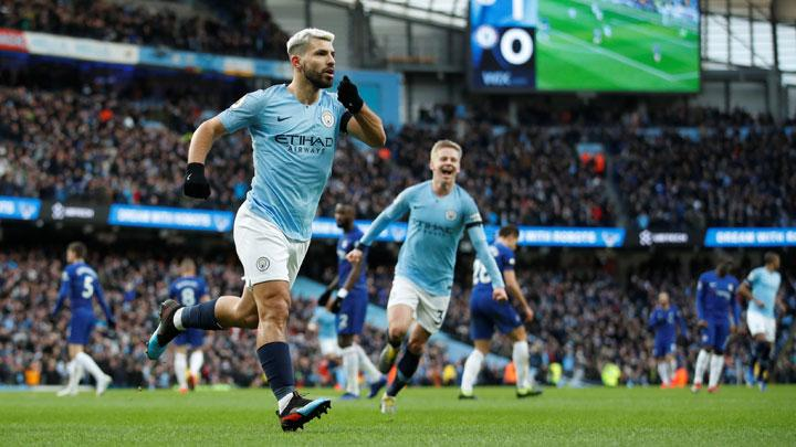 Manchester City's Sergio Aguero celebrates scoring their second goal during the Premier League match between Manchester City v Chelsea at Etihad Stadium, Manchester, February 10, 2019. Manchester City's on-fire striker Sergio Aguero struck his second hat-trick in a week as the champions ruthlessly destroyed woeful Chelsea in a 6-0 win at The Etihad. Action Images via Reuters/Carl Recine