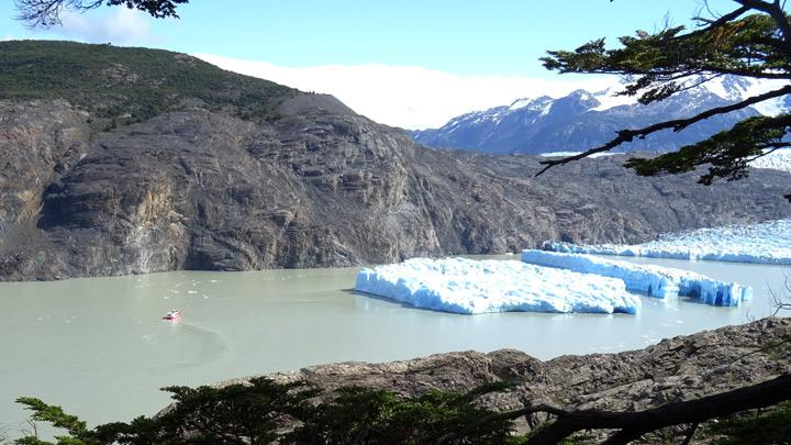 Two new icebergs are seen after breaking off from the Grey glacier in Patagonia, Chile,  March 9, 2019. Picture taken March 9, 2019.