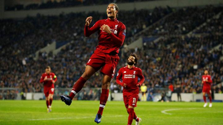 Liverpool's Virgil van Dijk celebrates scoring their fourth goal during match Champions League Quarter Final Second Leg between FC Porto v Liverpool at Estadio do Dragao, Porto, Portugal, April 17, 2019. Liverpool beat Porto 4-1 at the Dragao Stadium on Wednesday to advance 6-1 on aggregate. Action Images via Reuters/Andrew Boyers