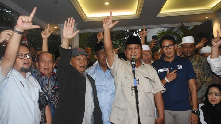 Prabowo Claims 62 Percent Win Based on Internal Polling