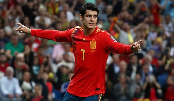 Spain's Alvaro Morata celebrates scoring their second goal during the match Euro 2020 Qualifier Group F between Spain vs Sweden at Santiago Bernabeu, Madrid, Spain, June 10, 2019. REUTERS/Sergio Perez
