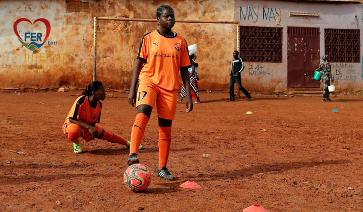 Gaelle Dule Asheri, 17, a soccer player, who is amongst the first wave of girls being trained by professional coaches at the Rails Foot Academy (RFA), attends a training session of the female U17 team at the RFA field in Yaounde, Cameroon, May 1, 2019. Asheri never gave up her dream despite strong opposition from her mother who feared she would lose her daughter to a