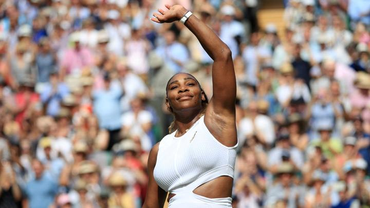 Serena Williams of the U.S. celebrates winning her semi final match against Czech Republic's Barbora Strycova in Wimbledon at All England Lawn Tennis and Croquet Club, London, Britain, July 11, 2019. Mixed doubles with Andy Murray was fun but Serena Williams got back to the serious business as she powered into her 11th Wimbledon final by overwhelming unseeded Czech Barbora Strycova in a brutal 6-1 6-2 victory on Centre Court on Thursday. Adam Davy/Pool via REUTERS