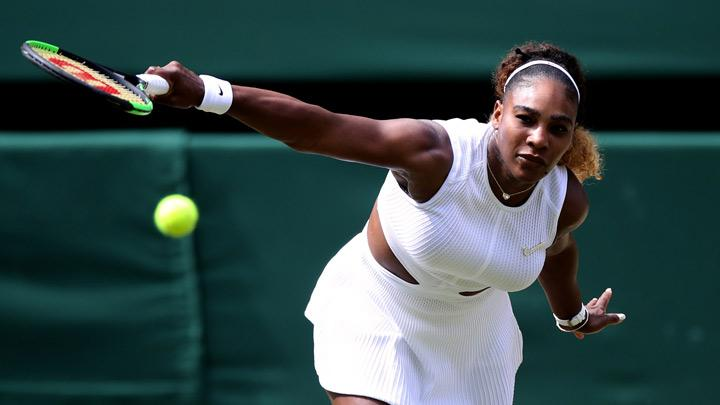 Serena Williams of the U.S. in action during her semi final match against Czech Republic's Barbora Strycova in Wimbledon at All England Lawn Tennis and Croquet Club, London, Britain, July 11, 2019.   Mixed doubles with Andy Murray was fun but Serena Williams got back to the serious business as she powered into her 11th Wimbledon final by overwhelming unseeded Czech Barbora Strycova in a brutal 6-1 6-2 victory on Centre Court on Thursday. REUTERS/Carl Recine