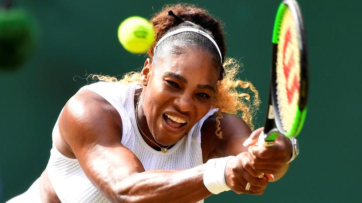 Serena Williams of the U.S. in action during her semi final match against Czech Republic's Barbora Strycova in Wimbledon at All England Lawn Tennis and Croquet Club, London, Britain, July 11, 2019.   Mixed doubles with Andy Murray was fun but Serena Williams got back to the serious business as she powered into her 11th Wimbledon final by overwhelming unseeded Czech Barbora Strycova in a brutal 6-1 6-2 victory on Centre Court on Thursday. REUTERS/Toby Melville