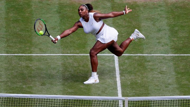 Serena Williams of the U.S. in action during her semi final match against Czech Republic's Barbora Strycova in Wimbledon at All England Lawn Tennis and Croquet Club, London, Britain, July 11, 2019. Mixed doubles with Andy Murray was fun but Serena Williams got back to the serious business as she powered into her 11th Wimbledon final by overwhelming unseeded Czech Barbora Strycova in a brutal 6-1 6-2 victory on Centre Court on Thursday. Alastair Grant/Pool via REUTERS