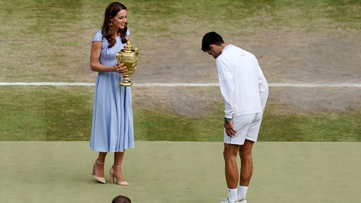 Kate Middleton Presents Novak Djokovic with Wimbledon Trophy
