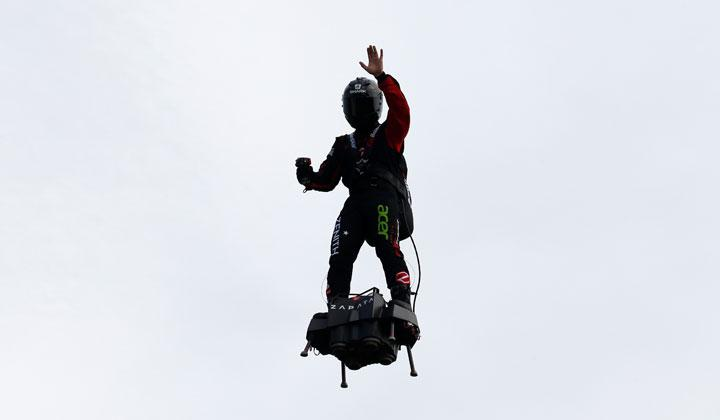 French inventor Franky Zapata flies on a Flyboard during a demonstration as he prepares to cross the English channel from Sangatte in France to Dover, at the Saint-Inglevert aerodrome near Calais, France, July 24, 2019. REUTERS/Pascal Rossignol