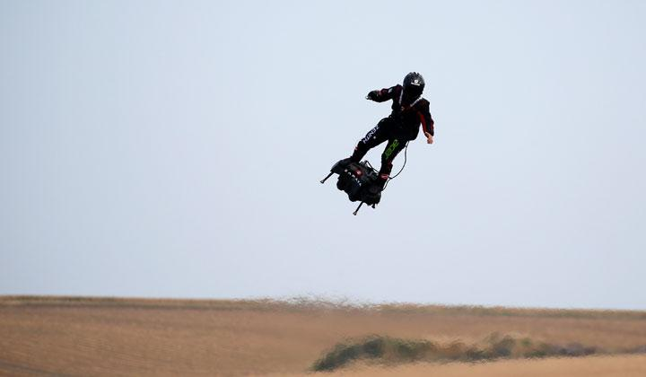 French inventor Franky Zapata flies on a Flyboard during a demonstration as he prepares to cross the English channel from Sangatte in France to Dover, at the Saint-Inglevert aerodrome near Calais, France, July 24, 2019. The anniversary of an historic landmark in aviation will take place on July 25th, marking 110 years since Frenchman Louis Bleriot made the first powered crossing of the English Channel, flying his Bleriot XI monoplane from Calais to near Dover. REUTERS/Pascal Rossignol