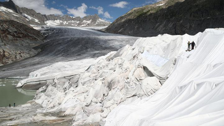 Blankets Cover Rhone Glacier at Switzerland
