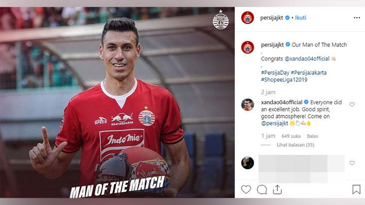 Pemain asing Persija terbaru, Alexandre 'Xandao' Luiz Reame dinobatkan sebagai Man of the Match dalam laga melawan PSIS Semarang, Ahad, 15 September 2019. Instagram/@Persijajkt