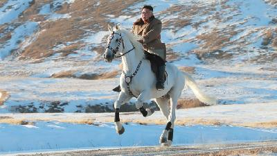 'Defiant Message' as Kim Jong Un Rides White Horse on Mt Paektu