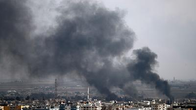 Smoke Rises from Syrian Border Town as Turkish Pushes Offensive