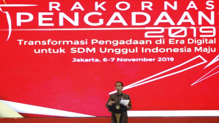 President Joko Widodo or Jokowi delivers a speech in the opening of the 2019 National Coordination Meeting of Goods and Services Procurement in Jakarta, Wednesday, November 6, 2019. TEMPO/Subekti