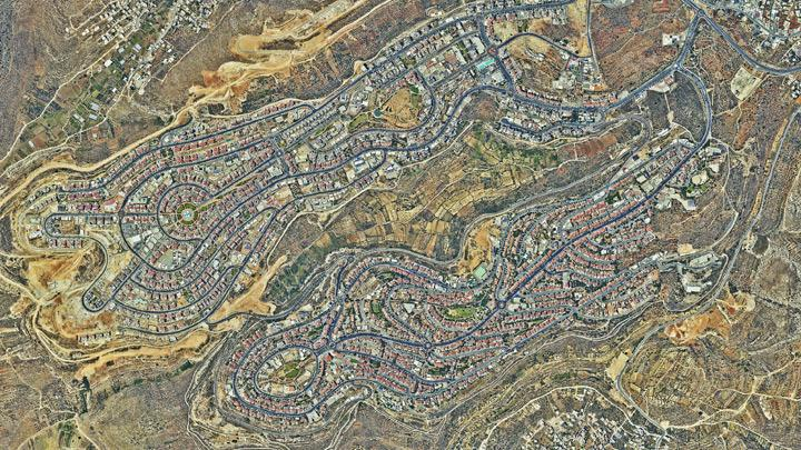 Aerial View Shows Israeli Settlements in the Occupied West Bank