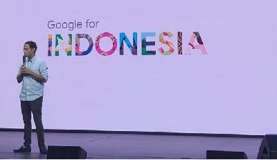 Nadiem Makarim Gives Speech in 4th Google for Indonesia Event