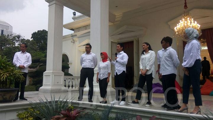 President Joko Widodo or Jokowi announced his seven special staffers at the Merdeka Palace, Jakarta, Thursday, November 21, 2019. TEMPO/Ahmad Faiz