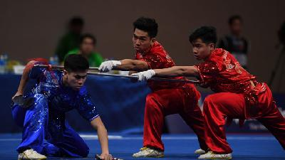 Tim Putra Wushu Indonesia Raih Emas di SEA Games 2019