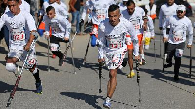 Palestinian Amputees Compete Run Racing in Gaza
