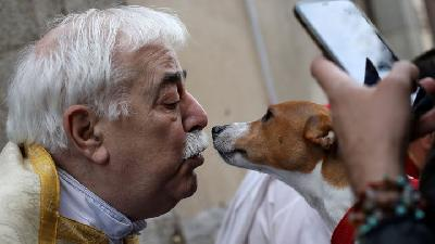 Dozens Pets Being Blessed at Church in Madrid