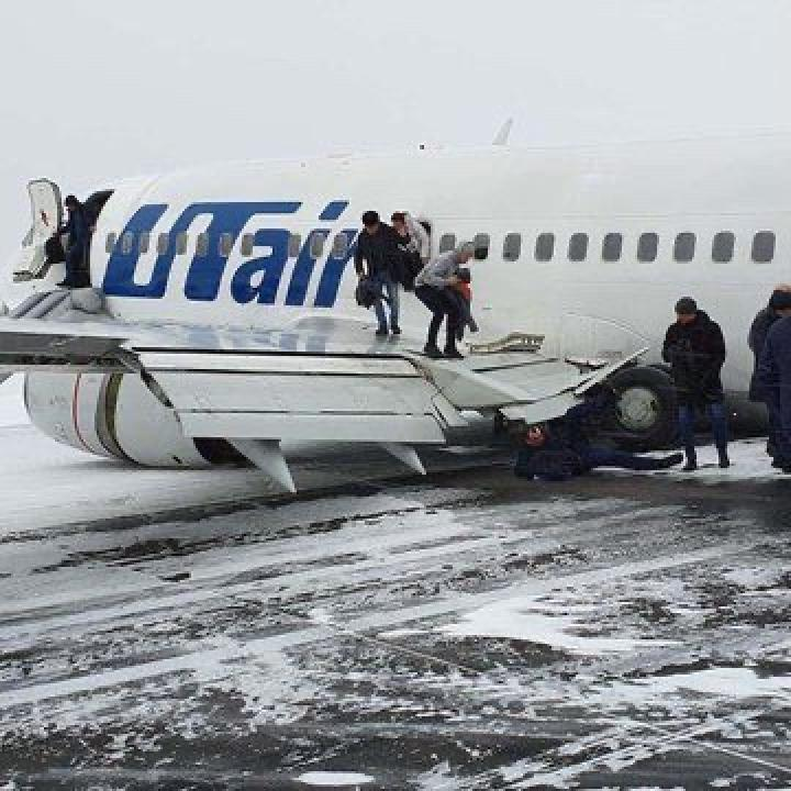 Utair mendarat tak mulus di Bandara Usinsk, Rusia pada Minggu, 9 Februari 2020. Sumber: Aviation24.be