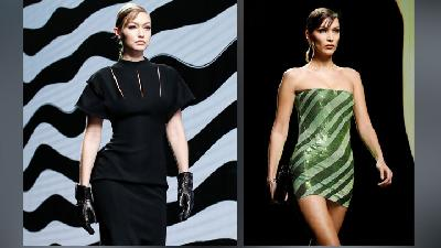 Adu Gaya Gigi dan Bella Hadid di Milan Fashion Week