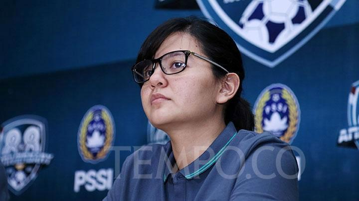 Ratu Tisha Destria resigns from her position as the secretary-general of the Indonesian Football Association on Monday, April 13, 2020. TEMPO/M Taufan Rengganis
