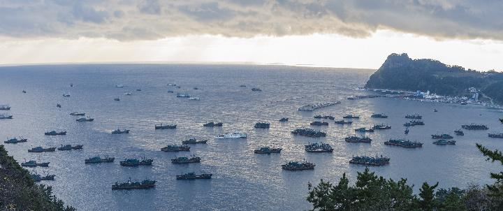 A number of illegal fishing vessels from China in the Korean waters. GLOBAL FISHING WATCH