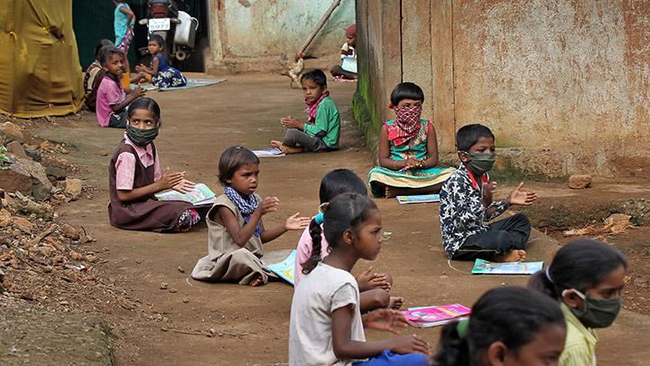 Schools Closed Due to COVID-19, Children Gather for Lessons over Loudspeaker
