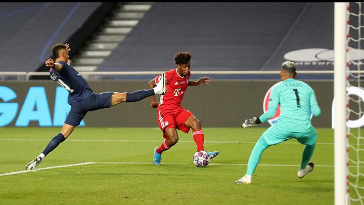 Bayern Munich's Kingsley Coman misses a chance to score during the match Champions League Final between Bayern Munich vs Paris St Germain at Estadio da Luz, Lisbon, Portugal, August 23, 2020. Miguel A. Lopes/Pool via REUTERS