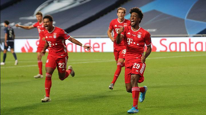 Bayern Munich's Kingsley Coman celebrates scoring their first goal with teammates during the match Champions League Final between Bayern Munich vs Paris St Germain at Estadio da Luz, Lisbon, Portugal, August 23, 2020. Bayern Munich won the Champions League for a sixth time by beating Paris St Germain 1-0 in Sunday's final thanks to a goal from former PSG youth academy graduate Kingsley Coman. Miguel A. Lopes/Pool via REUTERS