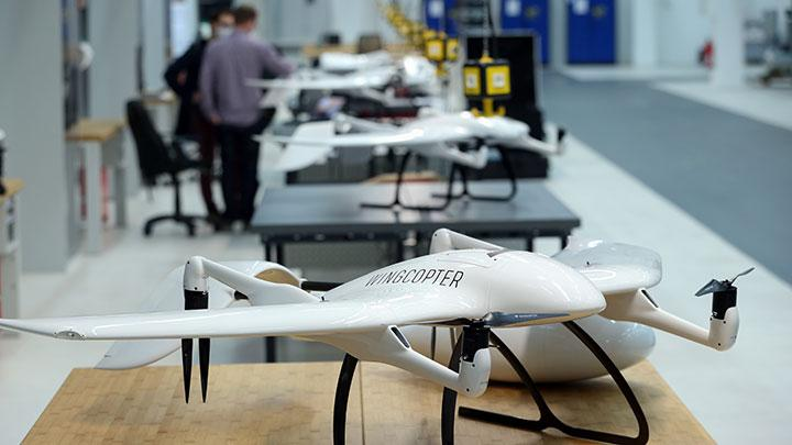 A drone of German start-up company Wingcopter, designed for the distribution of medical products, as well as COVID-19 vaccines, is pictured as the spread of COVID-19 continues, in Weiterstadt near Darmstadt, Germany, February 2, 2021. luemmer expects the pandemic to increase acceptance of unmanned aircraft and reshape logistics by transporting medical equipment and supplies quickly and safely while minimising human contact. REUTERS/Ralph Orlowski